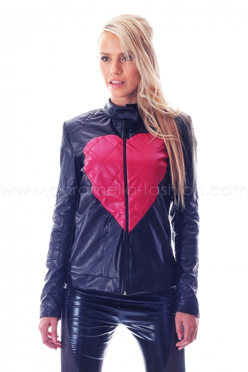 Short leather red heart jacket 010006