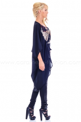 Black Asymmetric Front Printed Tunic