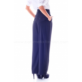 High waist black trousers with rear decorative patches