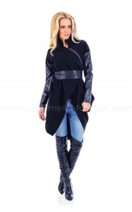 Coat with asymmetric zip and sleeves in leather