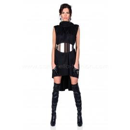 Black Gold Belted Dress