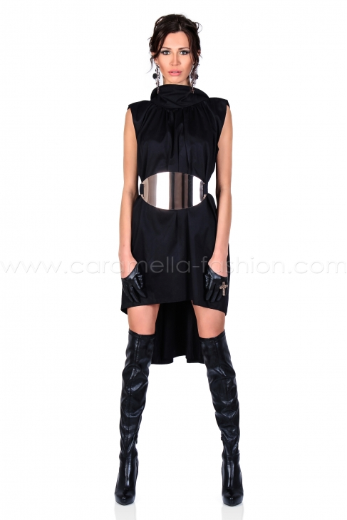 Black Gold Belted Dress 001184