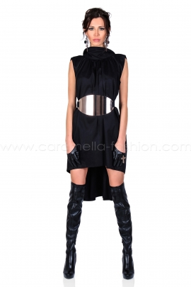 Black Gold Belted Dress