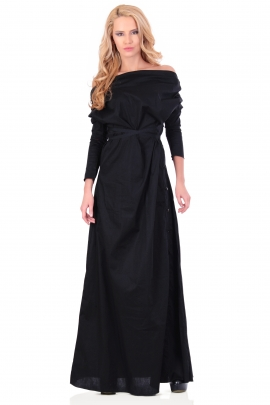 Long black dress with boat neckline