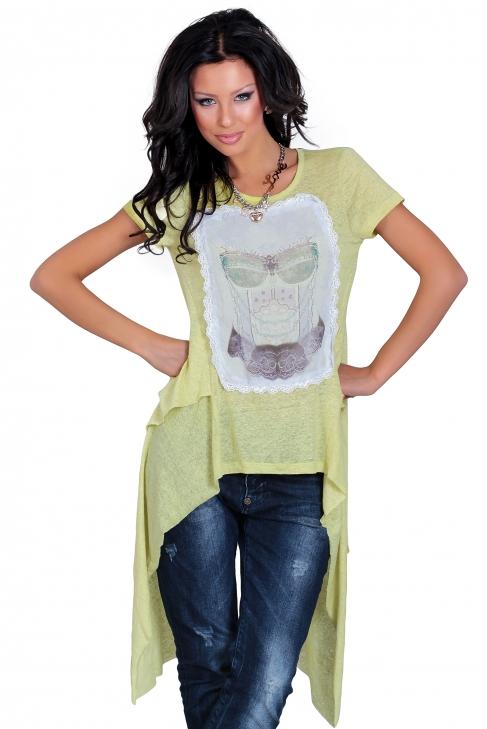 Аsymmetric cotton tunic in light green 002119