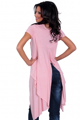 Asymmetric tunic in pink