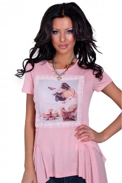 Asymmetric tunic in pink 002123