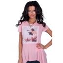 Asymmetric tunic in pink