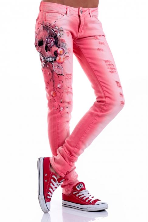Jeans Pink Skull 005044