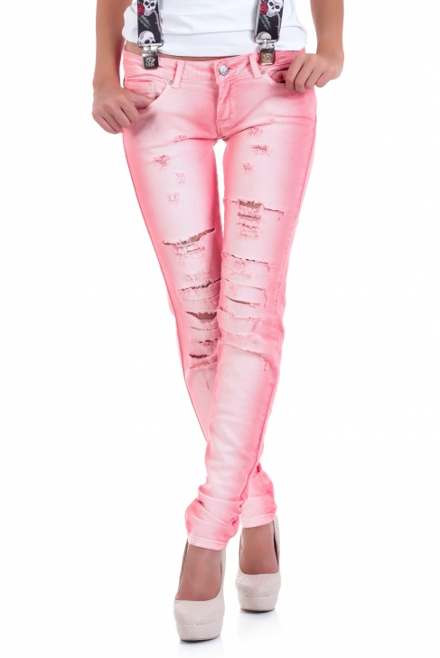 Jeans Pink hole 005049