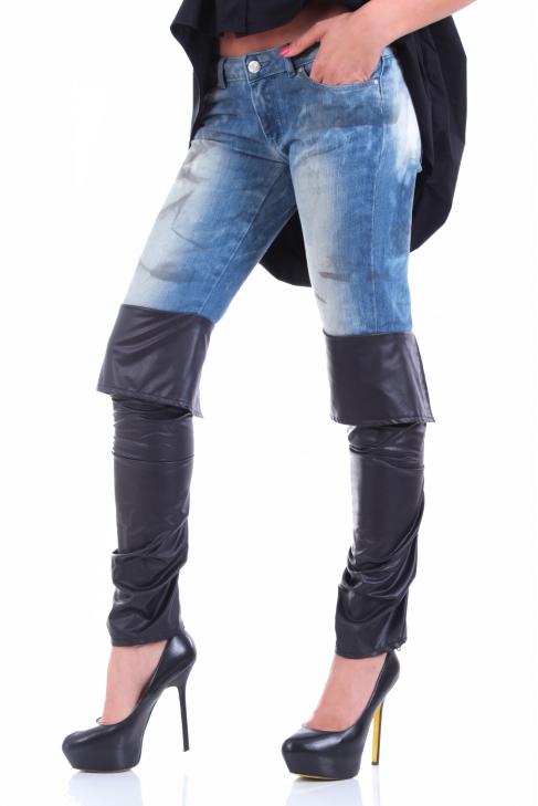 Дънки Leather boot 005054