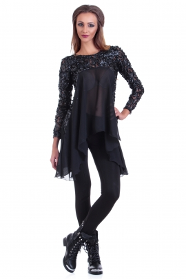 Tunic Black Rose