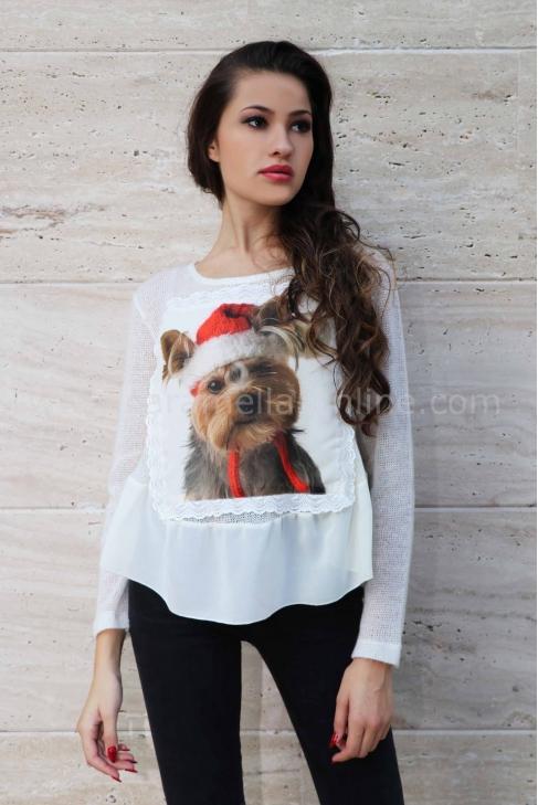 Blouse Christmas Dog 022133