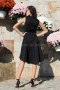 Dress Black Satin 012193 6