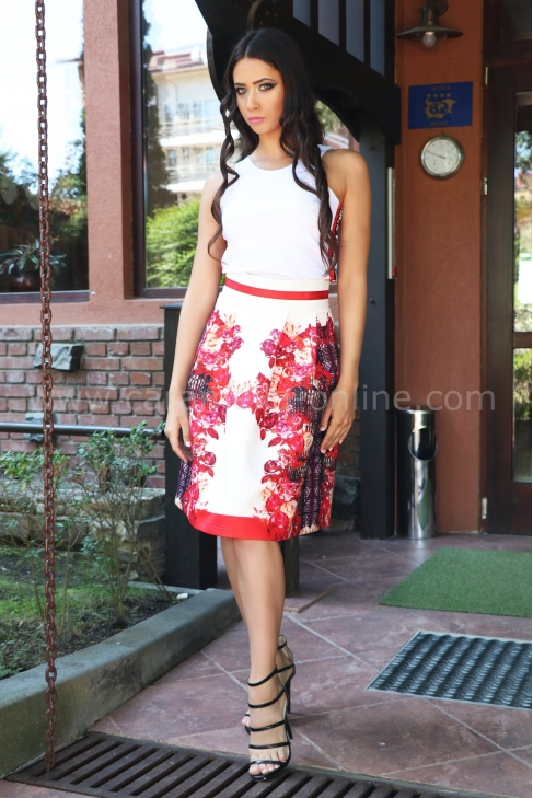 Skirt Red Flower 032054