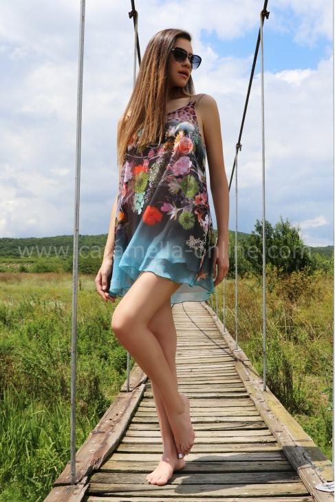 Dress-tunic Blue Flowers 012353