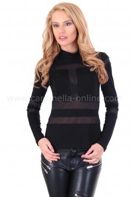 Черна блуза с тюл