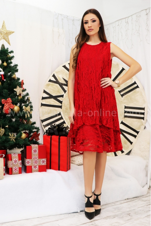 Dress Red Lace 012401