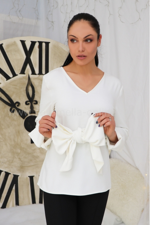 Blouse White Ribbon 022278