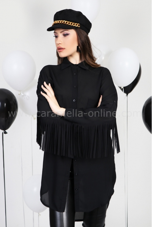 Shirt Black Fringes 022283