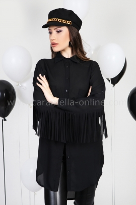 Shirt Black Fringes