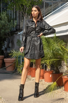 Рокля Leather Black