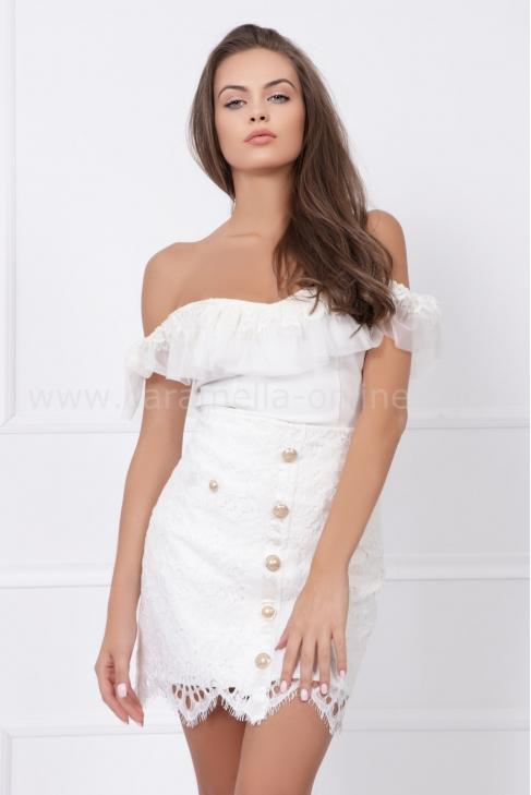 Пола от брюкселска дантела Lux Fashion White 032264