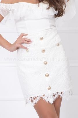 Пола от брюкселска дантела Lux Fashion White