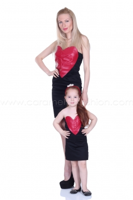 Mini black dress with red leather panel