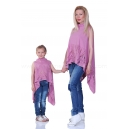 Asymmetric pink tunic with braided neck