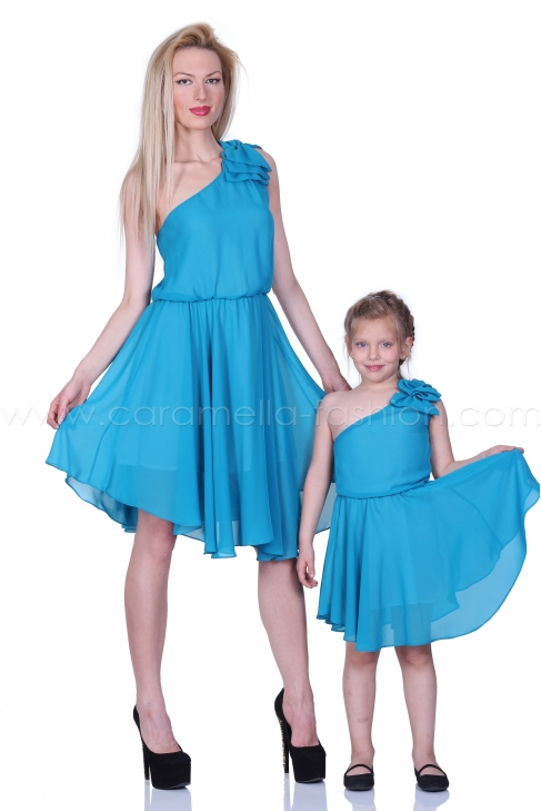 Blue asymmetric flared summer touch dress 200049