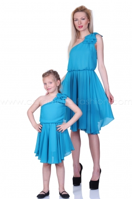 Blue asymmetric flared summer touch dress
