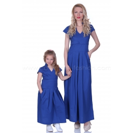 Long blue cotton casual dress