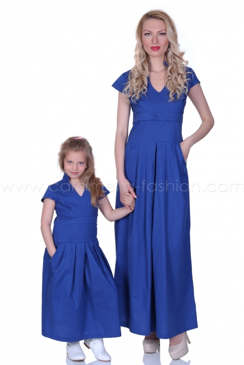 Long blue cotton casual dress 200054